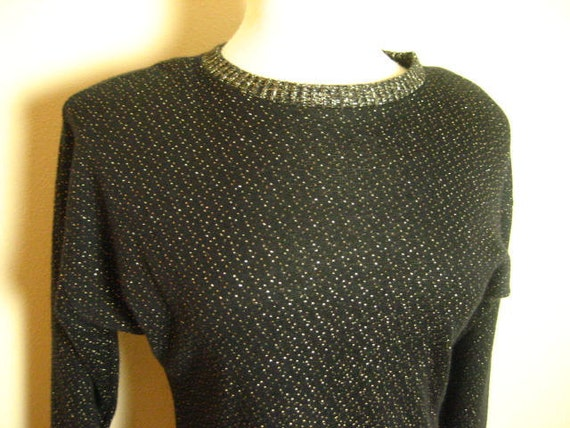 Vintage Black and Gold Knit Dress- Size L