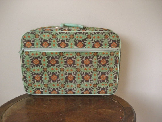 Vintage Mod Canvas Overnight Suitcase by Penguin- Made in Japan
