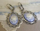 EARRINGS Victorian Style Pierced Wedgwood Blue and White Peony Cameos