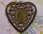 5 LARGE HEART Pendant Brass Filigree Stampings 60 X 55mm Victorian Style