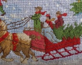 Special Listing for Isabel PETITE POINT NEEDLEPOINT New Christmas Holiday House Sleigh Scene