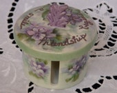 HAND PAINTED Postage Stamp Roll Holder Lavender Purple Floral Vintage