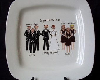 Bridal Party Platter 12 Inch Square