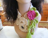 Ivory Lace Neckwarmer with Rose Tendrils Brooch