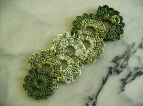 RESERVED FOR dcolours Connemara Green Crochet Lace Bracelet Cuff with Custom Handmade Button