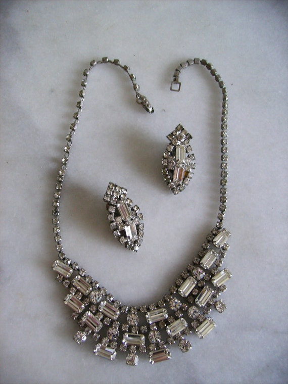 Rhinestone Demi Parure Necklace and Earring Set