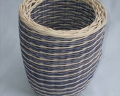 Small Hand Woven Wicker Basket in Blue and Natural Spiral