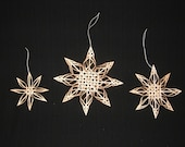 Set of 3 Carolina Snowflake Ornaments - Black Ash