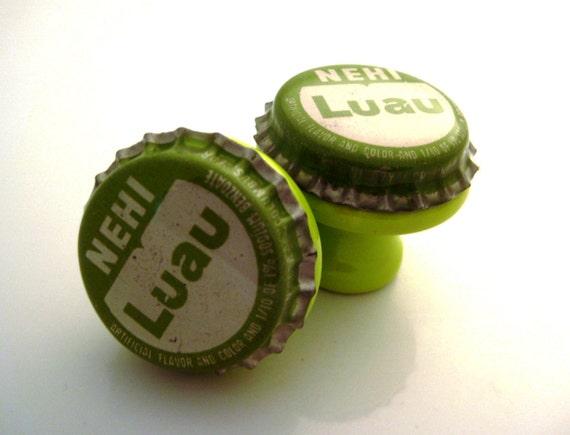 Nehi Luau bottle cap knobs green rare