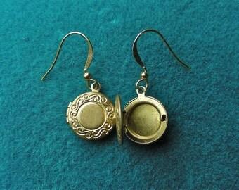Adorable Vintage Brass Locket Earrings
