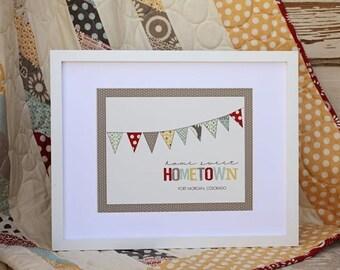 Custom Hometown Bunting Print