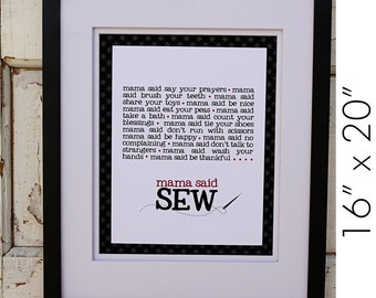 "Mama Said Sew Canvas Print- 16"" x 20"""