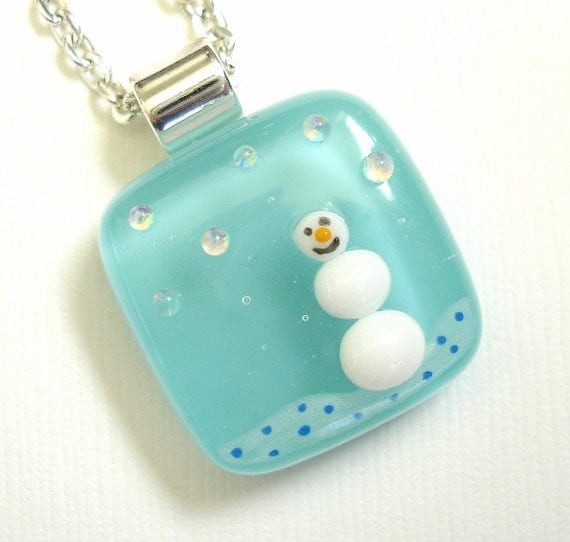 The Tiny Snowman Fused Glass Necklace