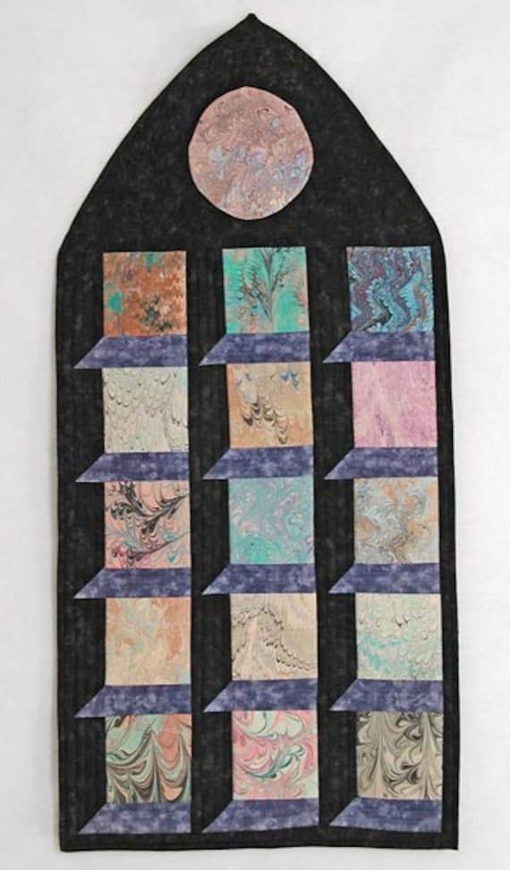 Fiber Art Wall Hanging-marbled fabrics-Fiber Art-Home Decor-Marbled Windows Art Quilt -Wall Hanging