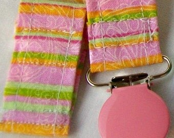 Pacifier Clip Toy Holder in Bright Multi Colored Stripe Fabric