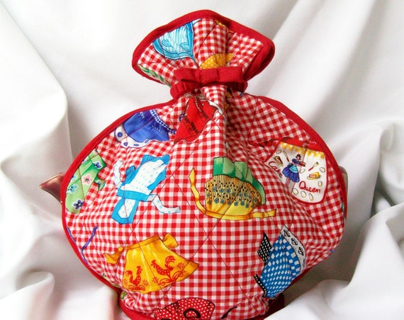 Quilted Tea Cozy Red Gingham Apron Print