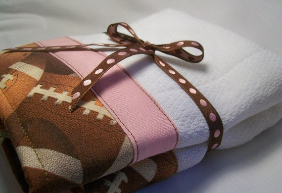 Baby Girl Burp Cloths Brown Football Fabric with Pink Trim Set of Two Made To Order Without Personalization