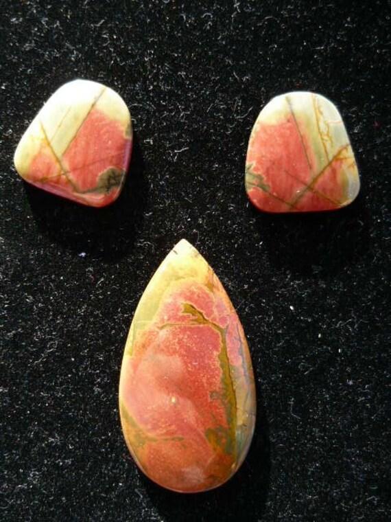 Watermelon Slices Picasso Jasper Cabochon set of Three