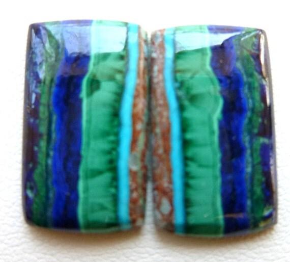 Azurite Malachite Gemstone Cabochons Pair 9