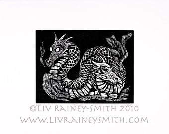 Brooding serpent dragon hand-pulled woodcut print