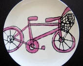Melamine Bicycle Plate in Hot Pink and Black