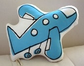 Airplane Pillow - more colors - blue, pink, orange, yellow or green - baby gift - plush - home goods