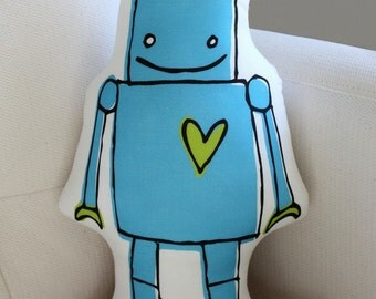 Robot Pillow - more colors - blue or green - plush - baby gift - American made - valentine's day - love - valentine
