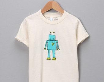 Organic Cotton Kid's Robot Tshirt