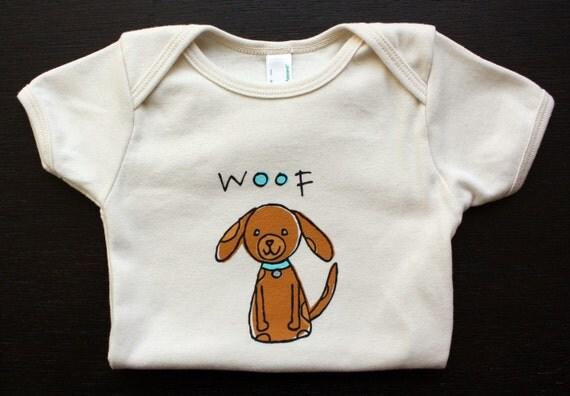 SALE - Organic Cotton Puppy Dog Baby Onesie