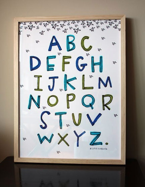 Framed Alphabet Poster Blue And Green