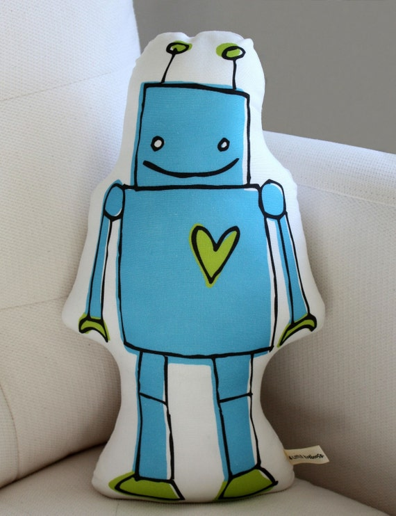 Robot Pillow More Colors Blue Or Green Plush Baby Gift