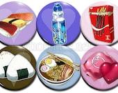 """Otaku Foods Cutesy Chibi 1.75"""" Pin-Backed Buttons - Set of 6"""