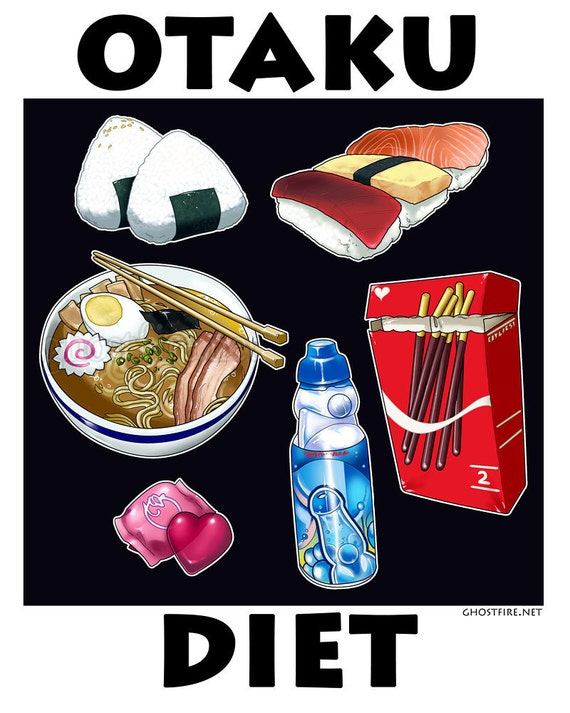 "Delicious Japanese & Asian Foods Cartoony Art Print - Multiple Sizes Available - ""Otaku Diet"""