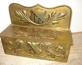 Vintage Brass Embossed Crest Wall Hanging Box      g