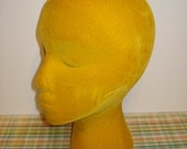 Vintage Yellow Velvet Mannequin Head Form