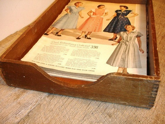 Vintage Wood Dovetail Office Tray