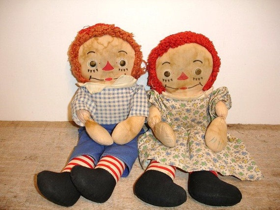 Vintage Raggedy Ann And Andy Dolls 86