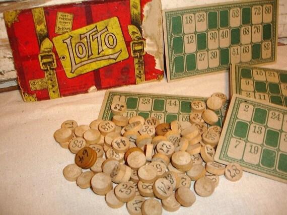 Vintage Lotto Bingo Game by Milton Bradley