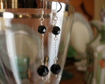 Black Ball and Chain Earrings