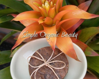 2 - Round Bars Organic African Black Soap w/ African Shea Butter hand melted in FAIR TRADE