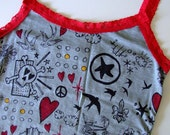 Gray and Red Lace Trimmed Tank with Skulls, Hearts, Sparrows, Stars, Roses, and Owls