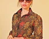 VINTAGE 70s AUTUMN Floral button down shirt Blouse S M
