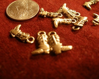 Gold charms for jewelry or dollhouse miniatures  -  cowgirl  cowboy boots 10 tiny two-sided   Team ESST, paganteam, OlympiaEtsy, WWWG
