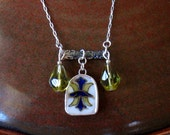 Vintage Broken China Ceramic Shard Necklace, Sterling Silver, Crystal Beads, Classic Pattern