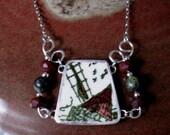 "Vintage Broken China Ceramic Shard Necklace, Sterling Silver, Stone Beads, ""Windmill of Daudet"" Pattern"