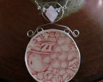 "Vintage Broken China Ceramic Shard Necklace, Sterling Silver, Stone Beads, ""Wild Rose"" Pattern"