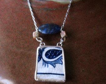 Vintage Broken China Ceramic Shard Necklace, Sterling Silver, Stone Beads, Blue Onion Pattern