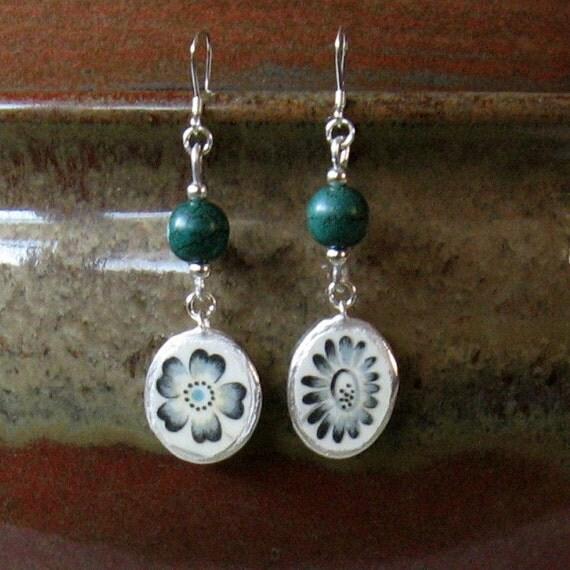 Vintage Broken China Ceramic Shards Earrings, Sterling Silver, Stone Beads, Lovely Single Blue Flower
