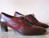 Red and Burgundy Leather Flapper Style Oxford Heels 7