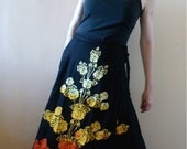 Batik Sunset Ombre and Black Wrap Maxi Skirt
